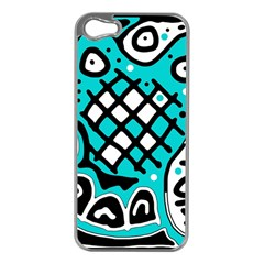 Cyan high art abstraction Apple iPhone 5 Case (Silver)