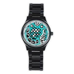 Cyan high art abstraction Stainless Steel Round Watch