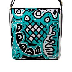 Cyan high art abstraction Flap Messenger Bag (L)
