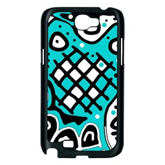 Cyan high art abstraction Samsung Galaxy Note 2 Case (Black)