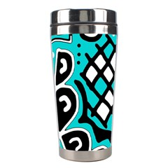 Cyan high art abstraction Stainless Steel Travel Tumblers