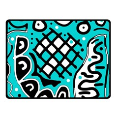 Cyan high art abstraction Double Sided Fleece Blanket (Small)