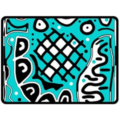 Cyan high art abstraction Double Sided Fleece Blanket (Large)