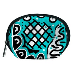 Cyan high art abstraction Accessory Pouches (Medium)