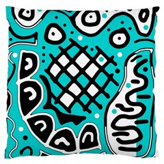 Cyan high art abstraction Large Flano Cushion Case (Two Sides)