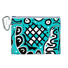 Cyan high art abstraction Canvas Cosmetic Bag (L)