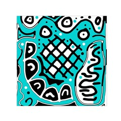 Cyan high art abstraction Small Satin Scarf (Square)