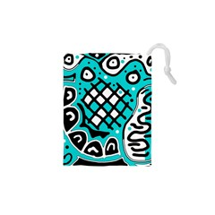 Cyan high art abstraction Drawstring Pouches (XS)