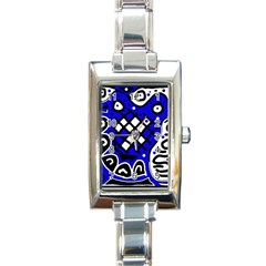 Blue high art abstraction Rectangle Italian Charm Watch