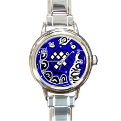 Blue high art abstraction Round Italian Charm Watch