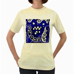 Blue high art abstraction Women s Yellow T-Shirt