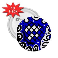 Blue high art abstraction 2.25  Buttons (10 pack)
