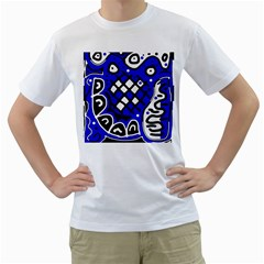 Blue high art abstraction Men s T-Shirt (White) (Two Sided)