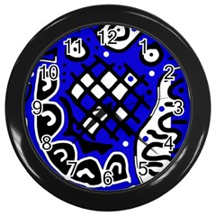 Blue high art abstraction Wall Clocks (Black)