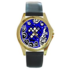 Blue high art abstraction Round Gold Metal Watch