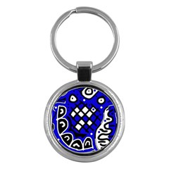 Blue high art abstraction Key Chains (Round)