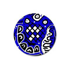 Blue high art abstraction Magnet 3  (Round)