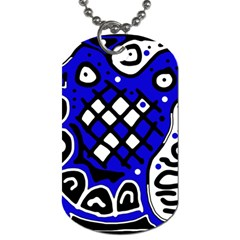 Blue high art abstraction Dog Tag (One Side)
