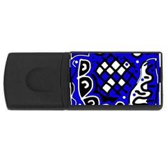 Blue high art abstraction USB Flash Drive Rectangular (1 GB)