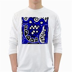 Blue high art abstraction White Long Sleeve T-Shirts