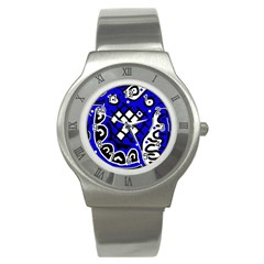 Blue high art abstraction Stainless Steel Watch