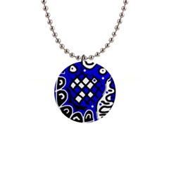 Blue high art abstraction Button Necklaces