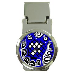 Blue high art abstraction Money Clip Watches