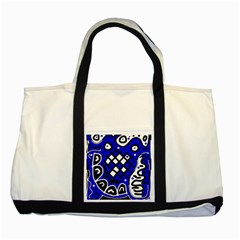 Blue high art abstraction Two Tone Tote Bag
