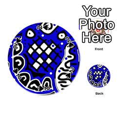 Blue high art abstraction Playing Cards 54 (Round)