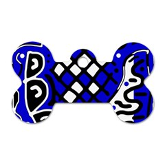 Blue high art abstraction Dog Tag Bone (Two Sides)