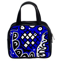 Blue high art abstraction Classic Handbags (2 Sides)