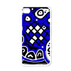 Blue high art abstraction Apple iPhone 4 Case (White)
