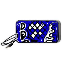 Blue high art abstraction Portable Speaker (Black)
