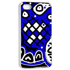 Blue high art abstraction Apple iPhone 4/4s Seamless Case (White)