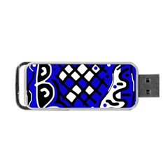 Blue high art abstraction Portable USB Flash (One Side)