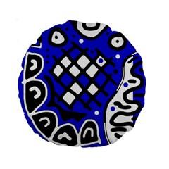Blue high art abstraction Standard 15  Premium Round Cushions