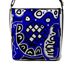 Blue high art abstraction Flap Messenger Bag (L)
