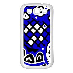 Blue high art abstraction Samsung Galaxy S3 Back Case (White)