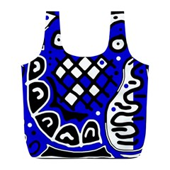 Blue high art abstraction Full Print Recycle Bags (L)