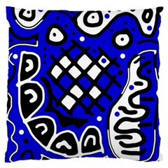 Blue high art abstraction Large Flano Cushion Case (Two Sides)