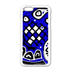 Blue high art abstraction Apple iPhone 6/6S White Enamel Case