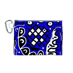Blue high art abstraction Canvas Cosmetic Bag (M)