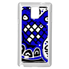 Blue high art abstraction Samsung Galaxy Note 4 Case (White)