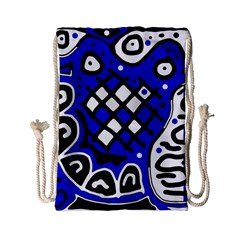 Blue high art abstraction Drawstring Bag (Small)