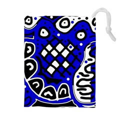 Blue high art abstraction Drawstring Pouches (Extra Large)