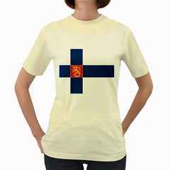 State Flag of Finland  Women s Yellow T-Shirt