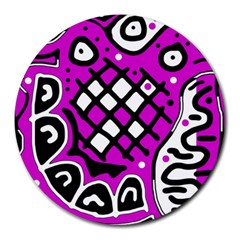 Magenta high art abstraction Round Mousepads