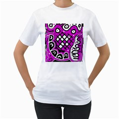 Magenta high art abstraction Women s T-Shirt (White) (Two Sided)