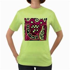 Magenta high art abstraction Women s Green T-Shirt