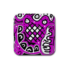 Magenta high art abstraction Rubber Coaster (Square)